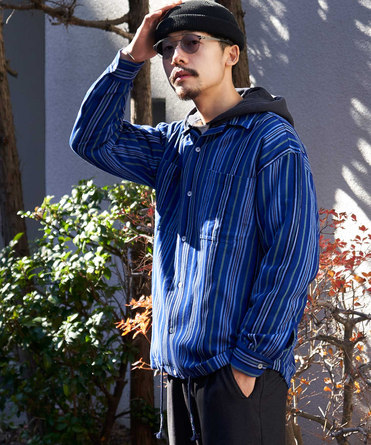 【wakami】OPEN COLLAR L/S SHIRTS BLU