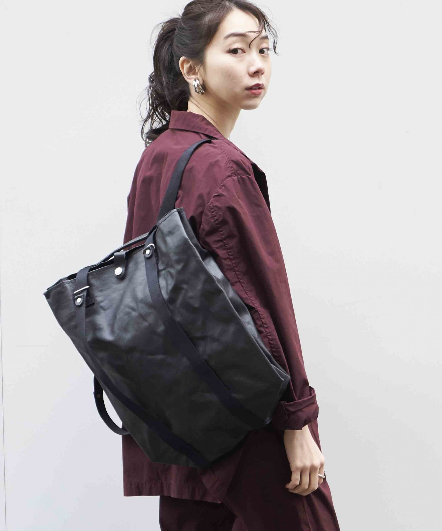 【QWSTION】Shopper Organic Jet Black