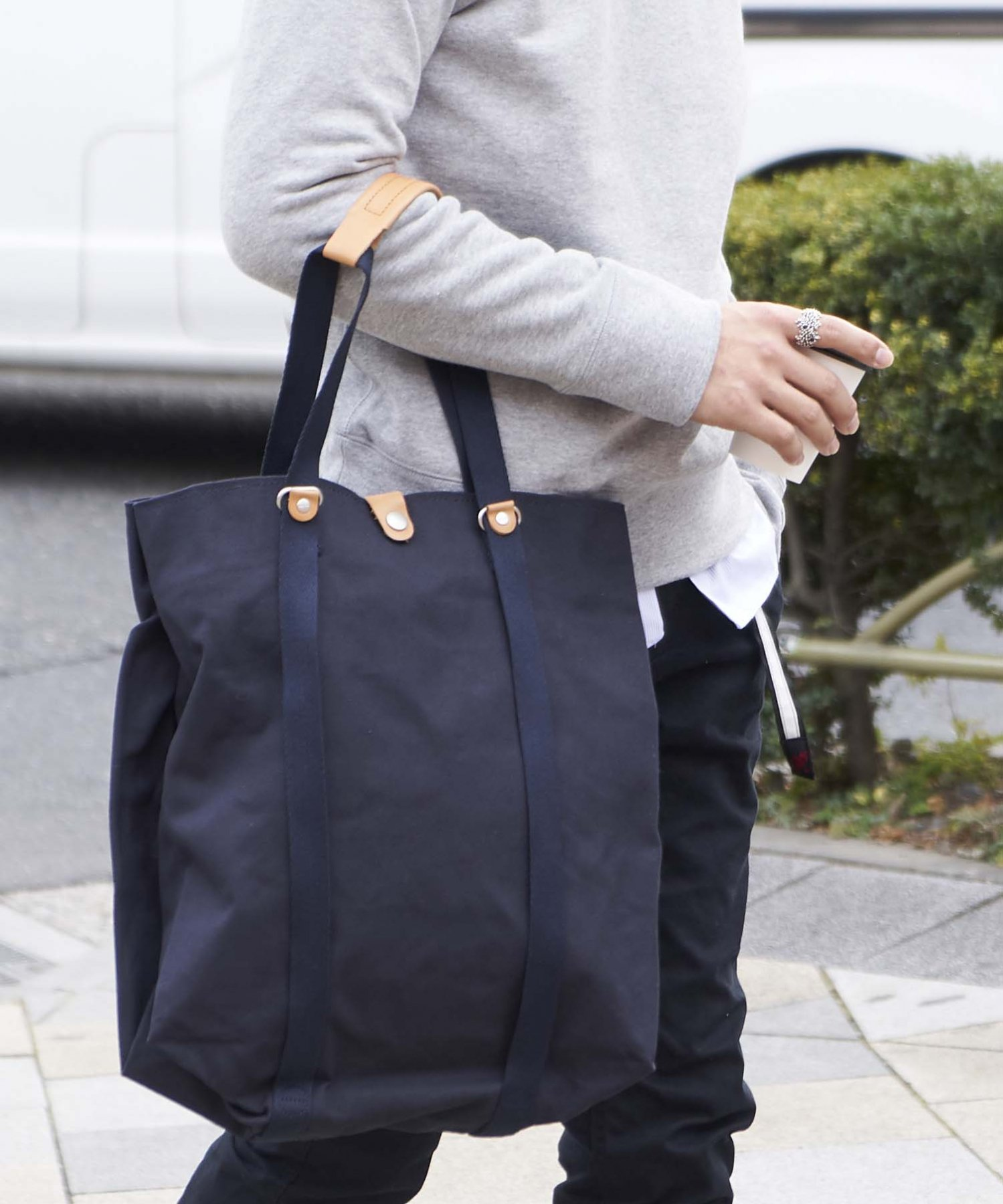 【QWSTION】Shopper Organic Navy