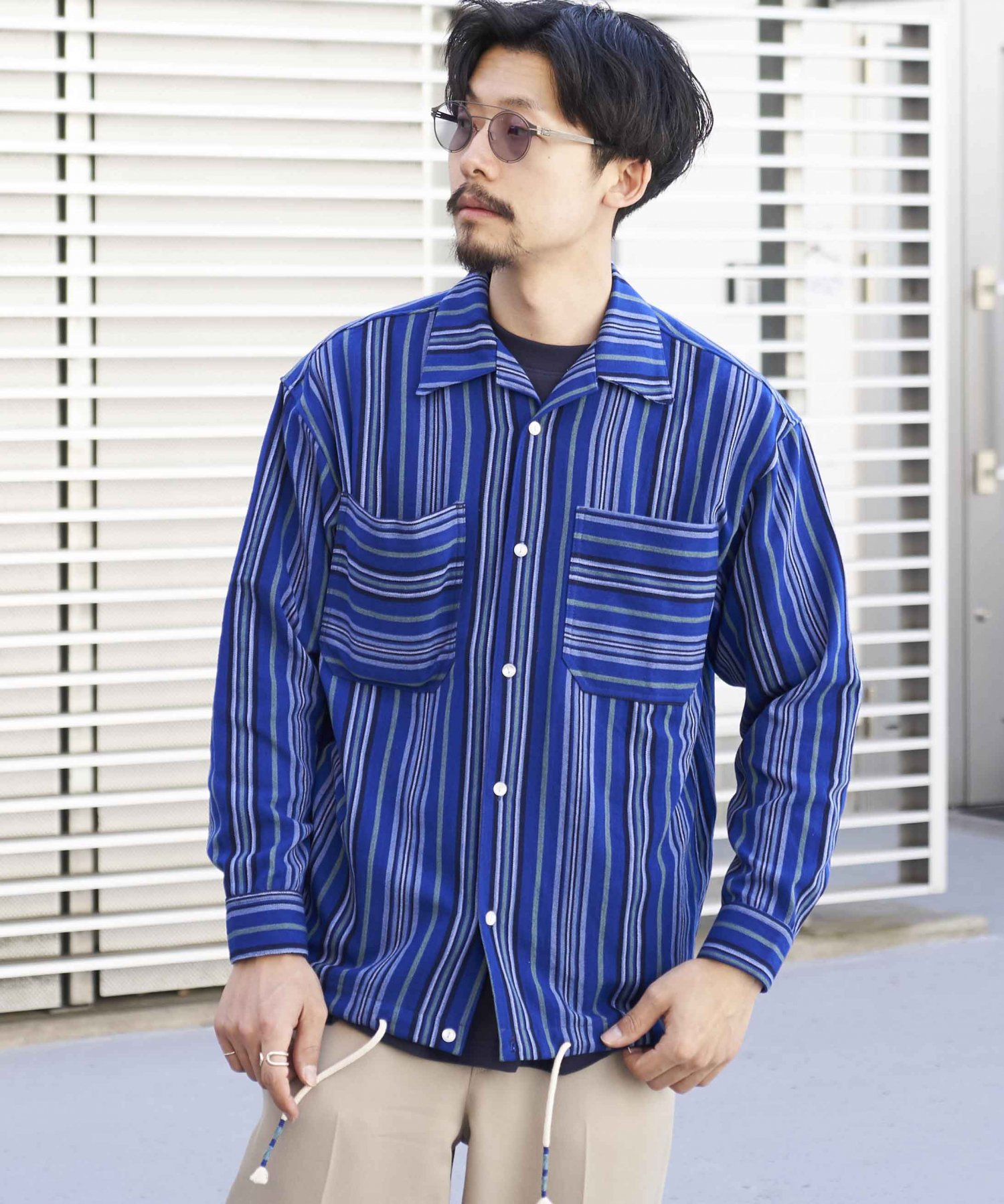 <img class='new_mark_img1' src='https://img.shop-pro.jp/img/new/icons15.gif' style='border:none;display:inline;margin:0px;padding:0px;width:auto;' />【wakami】OPEN COLLAR L/S SHIRTS NVY