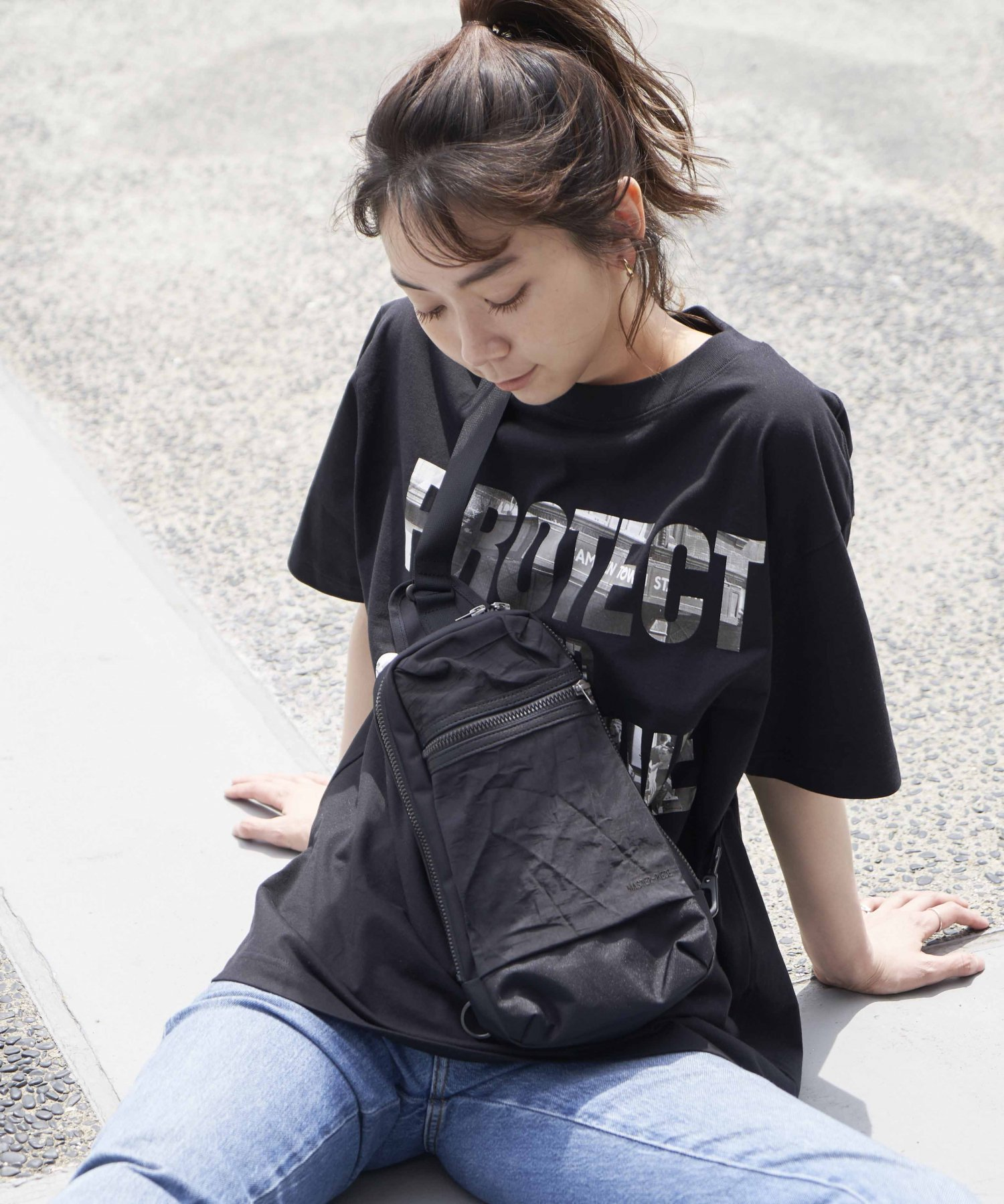 【master-piece × REBIRTH PROJECT】AIRBACK ボディバッグ BLK(4月上旬お届け予定)