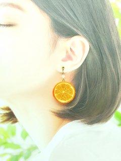 リアルなフルーツイヤリング オレンジ両面小