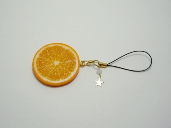 星とクリスタルビーズのストラップ オレンジ片面大
