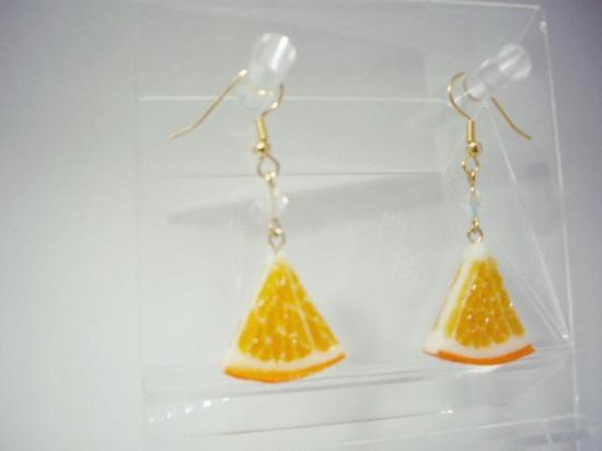 リアルなフルーツピアス オレンジ両面大 1/6カット