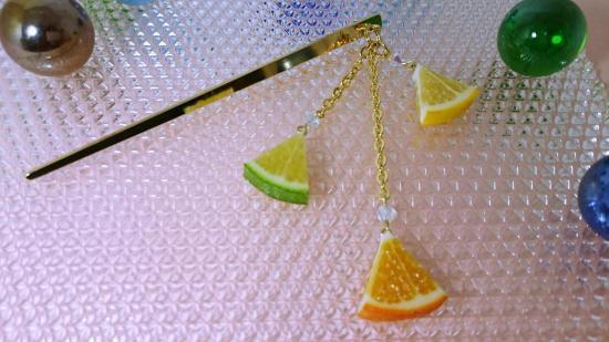 リアルなフルーツ柑橘3種のかんざし