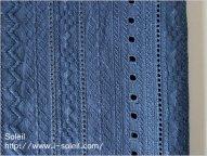 ローン ストライプ刺繍 ブルーグレー