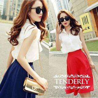 フレンチスリーブシャツ&ミディアムフレアスカートセットアップ 白青/白赤