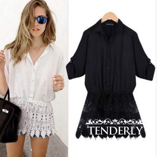 裾レースがボヘミアン ミディアム丈のシャツチュニック 白/黒