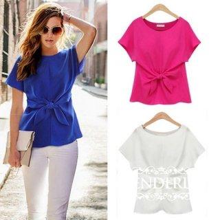 自然とウエストシェイプなリボン飾り 半袖シフォンTシャツ 白/青/ピンク