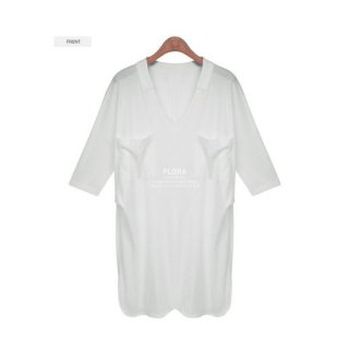 Vネックラフカジロング丈Tシャツ 白/紺色