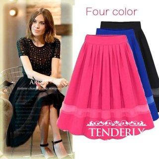 シースルーラインが可愛い♪フレアオーガンジーロングスカート 白/黒/青/ピンク