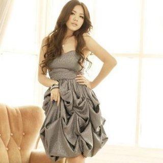ボリュームスカートのキュートなパーティシルエット♪ヒョウ柄ベアワンピースドレス
