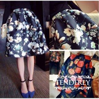 レトロな花柄 膝丈フレアスカート2色