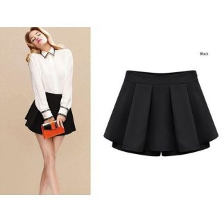 プリーツミニスカート風ショーパン キュロット スカパン 黒/黄色/紺