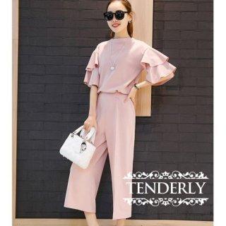 袖2段フリル トップス&細身ガウチョパンツセットアップ /黒/グレー/ピンク