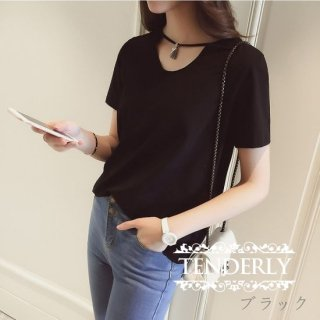 チャーム付きネックライン カジュアルTシャツ 黒/白