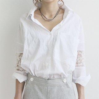 刺繍レースのちょい透けが大人カワイイ ゆるビッグ白シャツブラウス