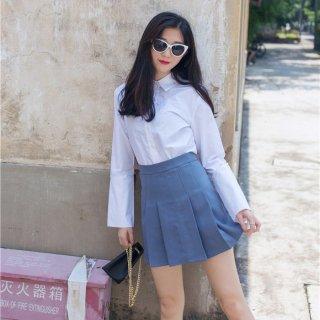 幅広タックプリーツのミニスカート /青 /S/M サイズ