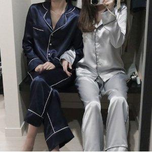 定番カワイイ細パイピング ツヤてろ素材の長袖長ズボンパジャマ /青/シルバー /S/M/L サイズ