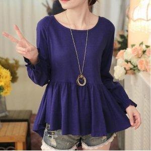きれいめカジュアル 裾広がりの長袖ロングTシャツ
