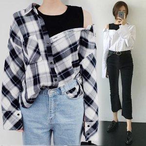 ルーズカジュアルなタンクトップレイヤード風 長袖シャツ