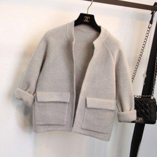 暖かなカシミア☆大人可愛いショート丈ジャケット3色
