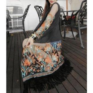 シースルーシフォンの花柄刺繍ロングカーディガン