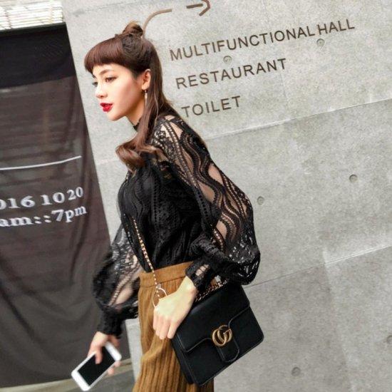 734b3715d9025 小悪魔シースルーレースのゆったり長袖ブラウス - コーデ画像使用 プチプラ 韓国ファッション 通販 マリベル