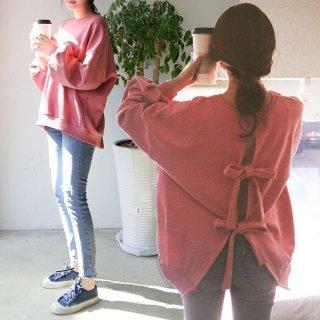 ピンクとリボンで可愛いゆったりランタン袖スウェットトップス