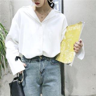 オープンカラー&袖コン 長袖ゆるシャツブラウス