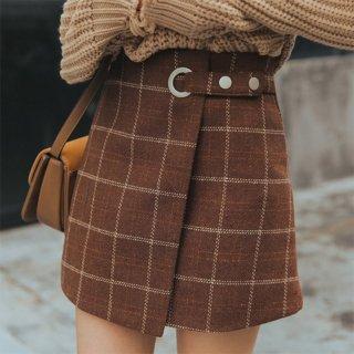 スクールガール風 チェック柄 台形ミニスカート