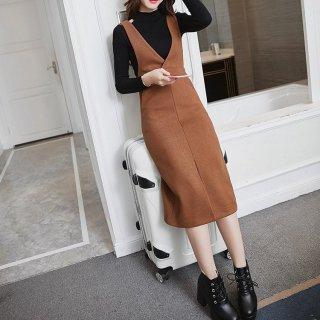 美脚カジュアル ミモレ丈のサロペットスカート