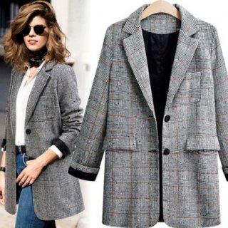 マニッシュなグレンチェック オーバーサイズおじさんジャケット