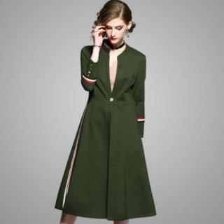 シンプル&今年らしい 大人女性 ワンボタンノーカラーコート 2色