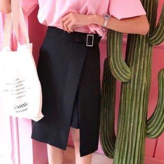 オフィスやデート婚活にもOK ラップ風スリットスカート ブラック