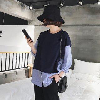異素材MIXがオシャレ デイリーに使えるストライプ柄ドッキングシャツカットソー