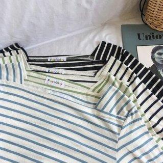 ベーシックカラーやアクセントカラーまで 長袖ボーダーカットソー Tシャツ
