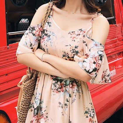 シフォン素材が軽やか オフショルダー 花柄ロングワンピ