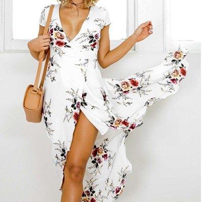 リゾートスタイルに♪ フラワープリント ラップドレス マキシワンピ
