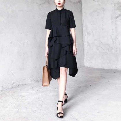【即納】モードなフリルデザインの個性的なスタンドカラー シャツワンピース 黒