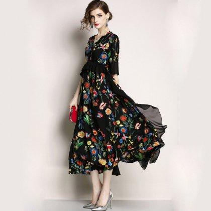 【即納】ペプラム花柄デザインのフリル ロング ワンピース 黒