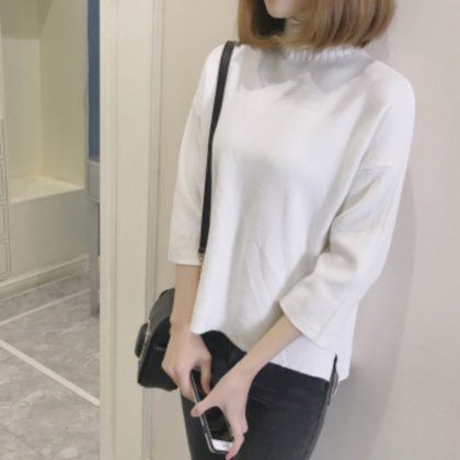 美ゆる ハイネックニットセーター 9分袖 アシンメトリー 3色