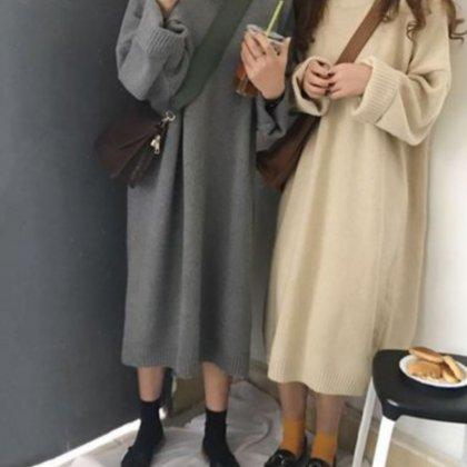 美ゆるシルエット リブニットワンピース 2色 トレンド 長袖
