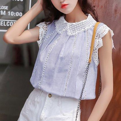 刺繍レースの襟&袖がかわいいストライプ柄ブラウス 2色