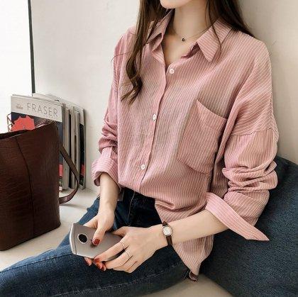 細めのストライプ柄がおしゃれなカジュアル長袖シャツ 3色