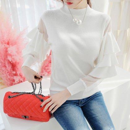 重ねフリル×シースルーの袖がインパクト大の個性派長袖トップス 6色