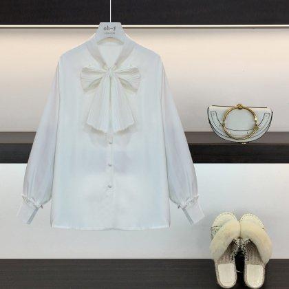 上品なワントーンできちんと感のある胸元リボンのきれいめ長袖ブラウス 2色