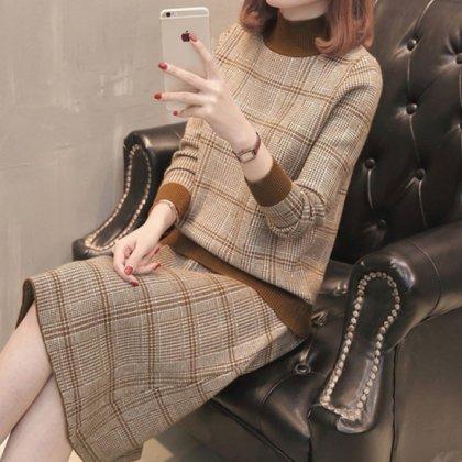 大人カラーのグレンチェックが品のあるスカートセットアップ フォーマル 4色