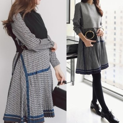 ニットベスト付き プリーツスカートがフェミニンな2way長袖ワンピース 2色