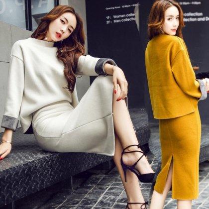 オフィスカジュアルに最適 バイカラーの袖がおしゃれなきれいめスカートセットアップ 2色